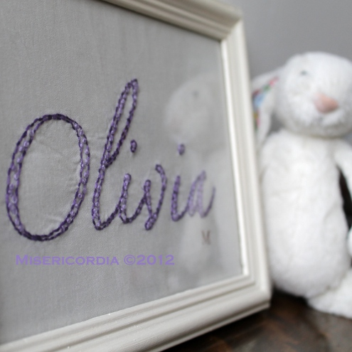 Olivia hand embroidery - Misericordia 2012