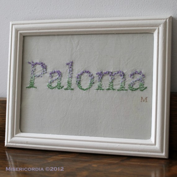 Paloma hand embroidery - Misericordia 2012