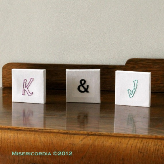 K & J Hand Embroidered mini canvases - Misericordia 2012