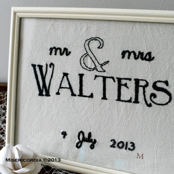 Mr & Mrs Walters hand embroidery - Misericordia 2013