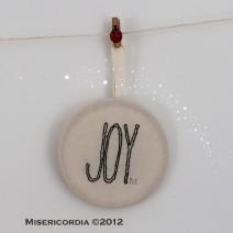 Joy hand embroidered hoop - Misericordia 2012