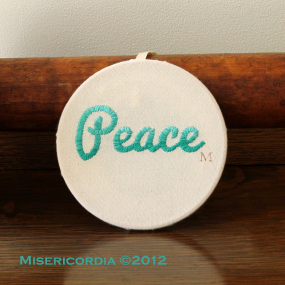 Peace hand embroidery - Misericordia 2012