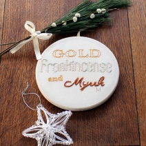 Gold, Frankinsence and Myrrh - hand embroidered hoop art - Misericordia 2012