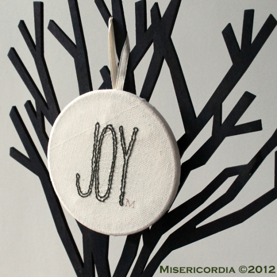 Joy hand embroidered hoop - Misericordia 2012