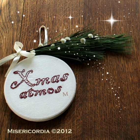 Xmas Atmos hand embroidered hoop - Misericordia 2012