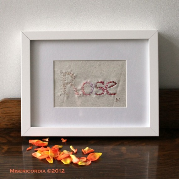 Rose hand embroidery - Misericordia 2012