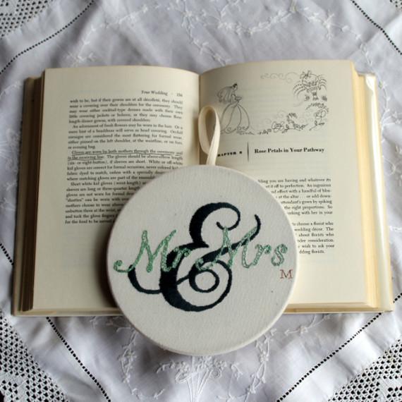 Mr & Mrs hand embroidered hoop - Misericordia 2014