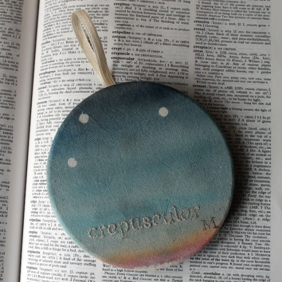 Crepuscular - hand painted and embroidered hoop art - Misericordia 2014
