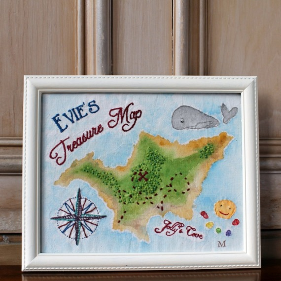 Evie 's Treasure Map - hand painted and stitched - Misericordia 2014