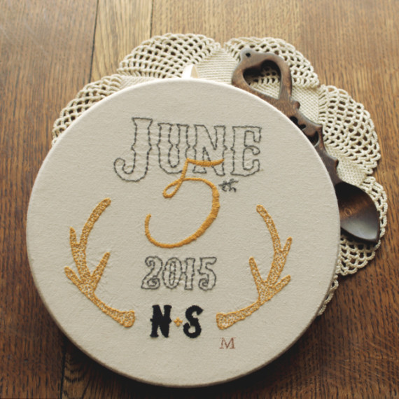 N & S hand embroidered wedding hoop - Misericordia 2015
